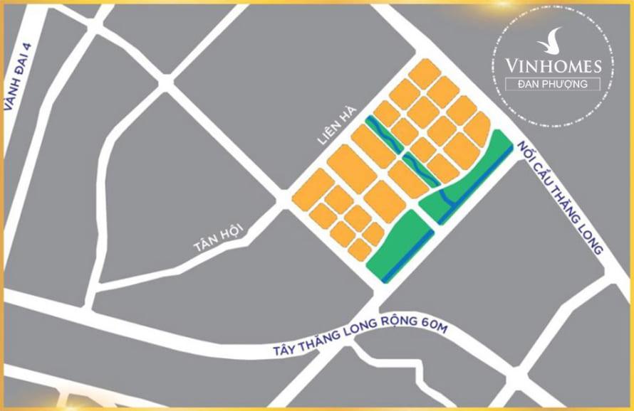 Bản đồ dự án vincity đan phượng
