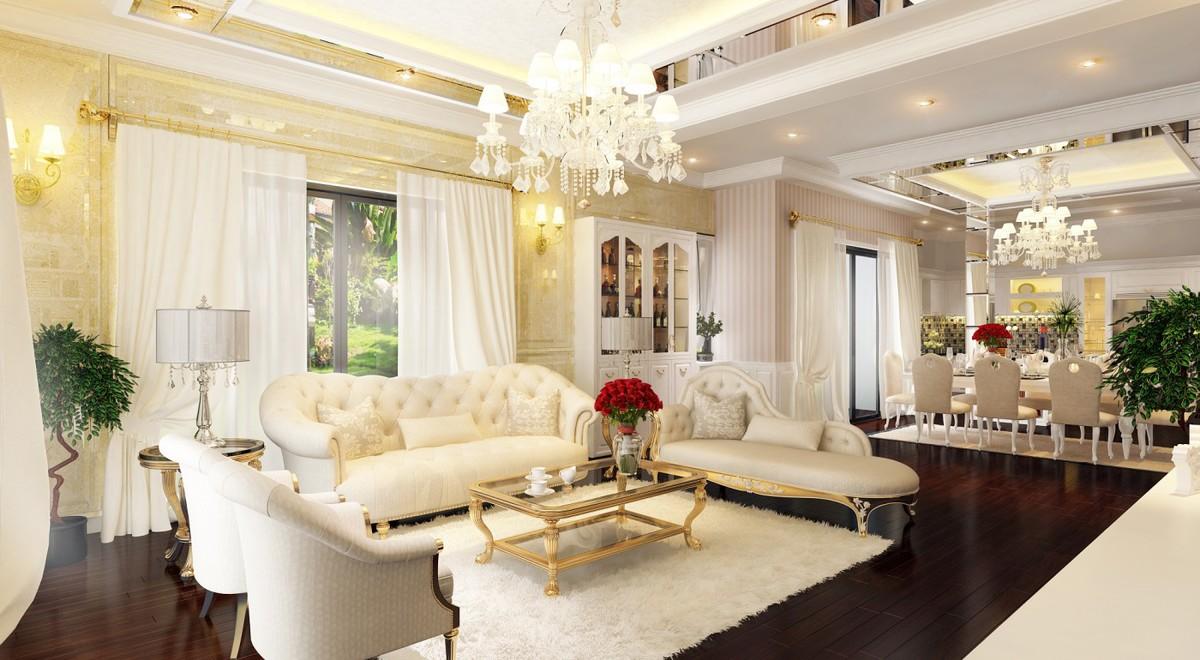 Ánh sáng tự nhiên được tận dụng tối đa cho phòng khách bằng cách thiết kế nhiều cửa bằng kính.